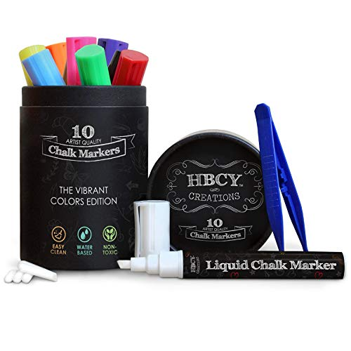 HBCY Creations Liquid Chalk Markers Set - 10 Neon Colored Non-Toxic Erasable Chalkboard Markers - For Chalk Boards, Glass, Labels & More! 5 Extra Chisel & Bullet Tips, Tweezers & Chalk Pen Holder!