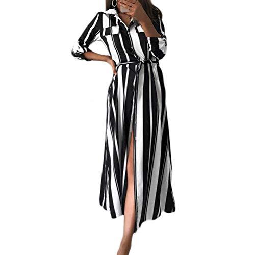 OKWIN Abito Chemisier A Righe Colorate Estive Donna Moda Gonna Sera Vestito Casual Dress Partito