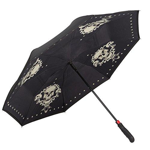 VON LILIENFELD Regenschirm Automatik Damen Herren Autofahrer Inverted Double-Layer Motiv Schädel Skull