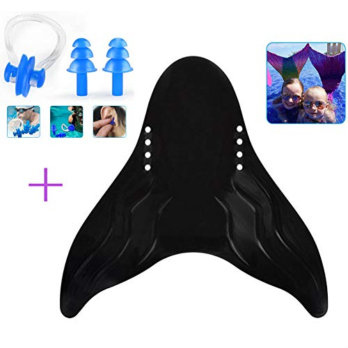 Swimming Mermaid Fins, Universal Swimming Nose Clip & Ear Plugs Set for Children & Adults, Diving Swimming Mermaid Monofin Flipper Training Equipment for Water Sport Outdoor Pool (Children,Black)
