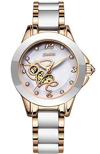 Dames Horloges SUNKTA Analoog Quartz Horloge Waterdichte Rose Goud Keramiek Polshorloge Dames