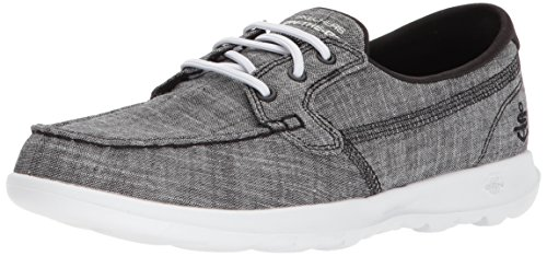 Skechers Performance Women's Go Walk Lite-15433 Boat Shoe,black/white,8 M US