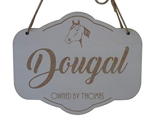Placa de madera personalizada con nombre de caballo para puerta de establo, placa de madera