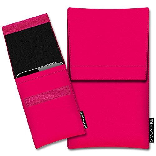 SIMON PIKE Hülle Tasche kompatibel mit Wiko Darkside | Schutztasche Sidney in 01 neonpink aus Kunstleder Handyhülle