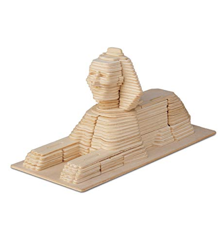 Puzzled 3D Puzzle Sphinx Wood Craft Construction Model Kit, Unique, Fun and Educational DIY Wooden Toy Assemble Model Unfinished Crafting Hobby Puzzle to Build and Paint for Decoration 161 Pieces Pack