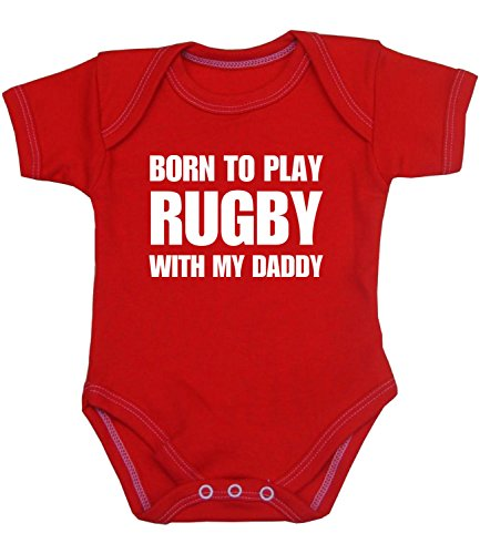 Babyprem Baby Body Strampler 'Born to Play Rugby with My Daddy' Kleidung 50-56cm Neugeborene ROT