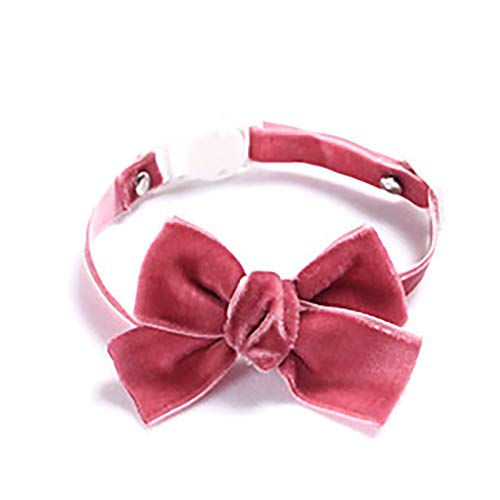 OHHCO Cats Collar Safe Adjustable Handmade Cloth Cute Collar for Down 28cm Neck Circumference Pets,dark pink