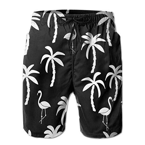 Palmbomen en flamingo's Zwembroeken voor heren Mode 3D-geprinte strandbroek Ademend licht met korte broek