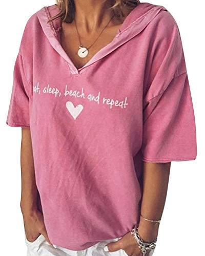 Minetom Damen Sommer Kurzarm Blusen T-Shirt V-Ausschnitte Loose Oversize Shirt Einfarbig Casual Brief Bedruckt Asymmetrisch Oberteile Top B Rosa DE 46