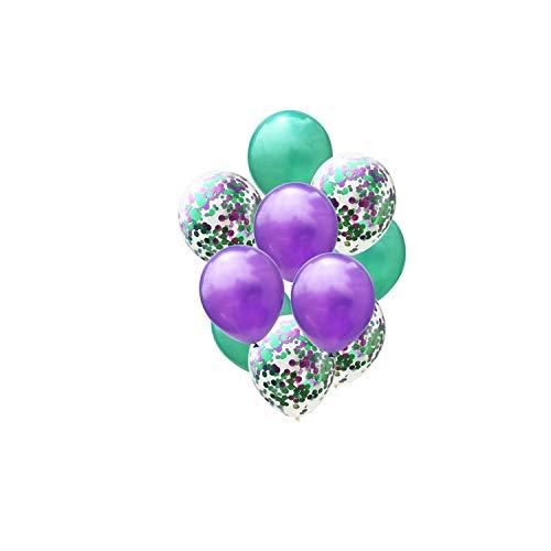 Archiba 10PCS de 12 Pulgadas de látex Confeti de los Globos Globos de Aire Inflable Bola Globo de Helio de Colores para Party Supplies cumpleaños de la Boda, púrpura Confeti Verde, de 12 Pulgadas