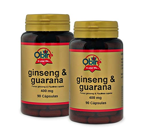 Obire | Ginseng y Guaraná | 400 mg | Mejora el Rendimiento Físico, Intelectual y la Resistencia a la Fatiga | Tonifica, Mejora la Memoria y Agilidad de Pensamiento | 90 Cápsulas (Pack 2 unid.)
