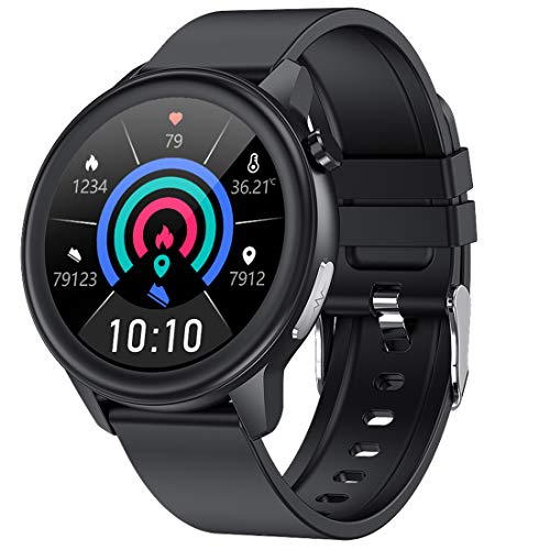 ECG Smartwatch Uomo, Orologio Intelligente per La Temperatura, Impermeabile IP68 Smart Watch Donna, Cardiofrequenzimetro da Polso Contapassi Activity Tracker per Android iOS Phone -Nero