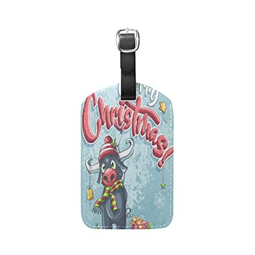 Cartel De Feliz Navidad Toro Equipaje Etiquetas de Maleta Nombre Etiqueta de...