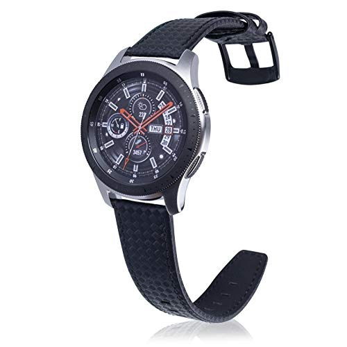 XYL-Q Correa de Reloj Watch Correa De Cuero De Fibra De Carbono 22 Mm For Huawei Reloj GT2e GT2 46mm (Negro) (Color : Black)