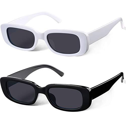 Braylenz 2 Pack Trendy Rectangle Sunglasses for Women Narrow...