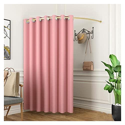 BAIYING Vestidor Tipo C, Vestuario Movible Refugio De Privacidad, Kit De Cortina De Tela, Riel De Metal Dorado para El Puesto De La Tienda De Ropa, 6 Colores (Color : Pink-B, Size : 100cm)