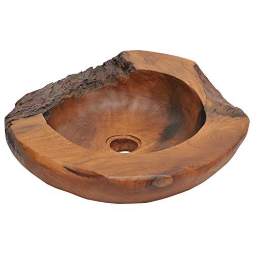vidaXL Madera de Teca Maciza Lavabo Rústico Diseño Irregular Lavamanos de Aseo