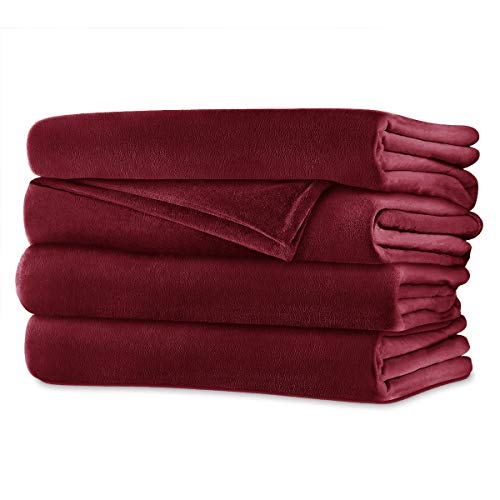 Sunbeam Queen Electric Heated Blanket Luxurious Velvet Plush with 2 Digital Controllers with 20 Heat Settings and Auto-Off Feature 5 Year Warranty, Red (Ruby Red)