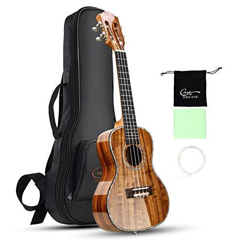 Ukelele de concierto profesional Hricane de 58 cm para ukeleles Koa Ukelele UKK-02-1 Hawaiian Uke Bundle con bolsa de regalo(Lustroso)