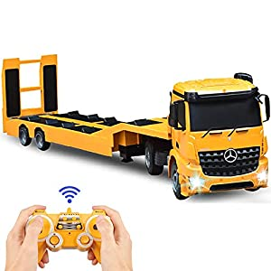 DOUBLE E Mercedes-Benz Licensed RC Tow Truck Detachable Flatbed Semi Trailer Engineering Tractor Remote Control Trailer Truck Electronics Hobby Toy with Sound and Lights
