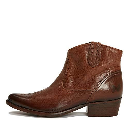 Felmini - Damen Schuhe - Verlieben WEST B504 - Reißverschluss Stiefeletten - Echtes Leder - Braun - 38 EU Size