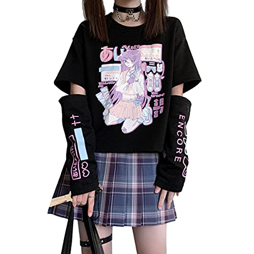 Vocha Damen goth T-Shirt schulsachen kawaii tshirt aesthetic clothes vintage Sommer japan harajuku Tops e-girl klamotten…