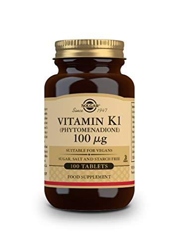 Solgar - Vitamina K1 De µg, Huesos Sanos Y Coagulación De La Sangre, Fitonadiona, Comprimidos, Multicolor, 100 Unidad
