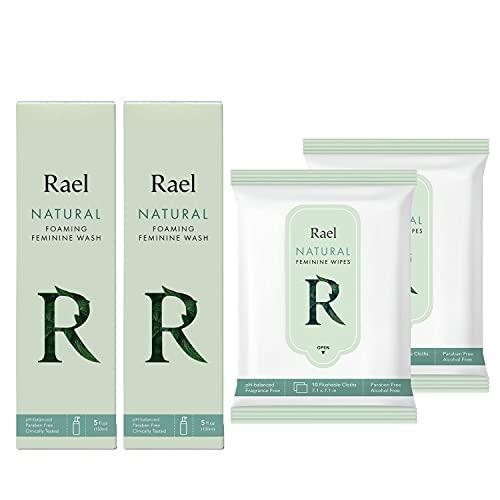 Rael Natural Feminine Cleansing Wash & Flushable Feminine Wipes Bundle - pH-Balanced, Artificial Fragrances Free, All Skin Types (Total 10 Oz, 20 Count)