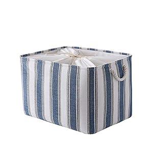 crib bedding and baby bedding thewarmhome storage basket fabric storage bin basket for organizing decorative basket with cotton handles closet basket for office,nursery,shelves(blue&white strip, 18.9l×15w×11.8h inch)