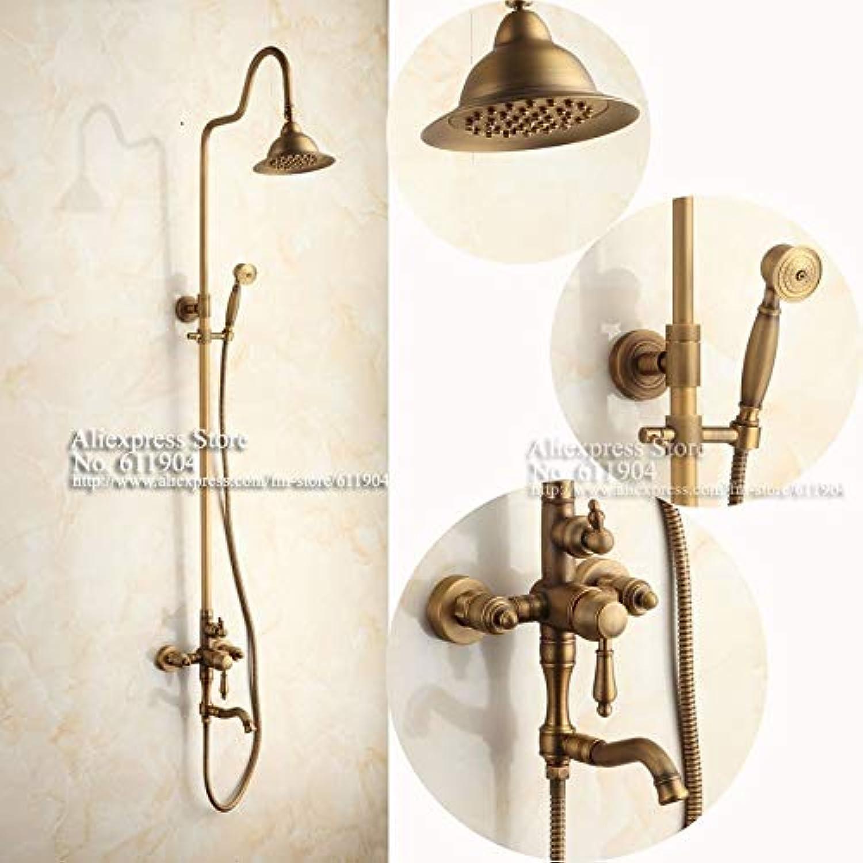 New Luxury Antique Brass Wandmontage Einhand-Duscharmatur Set Mischbatterie Regen Duschkopf Badewanne Mischbatterie 1111010, Wei