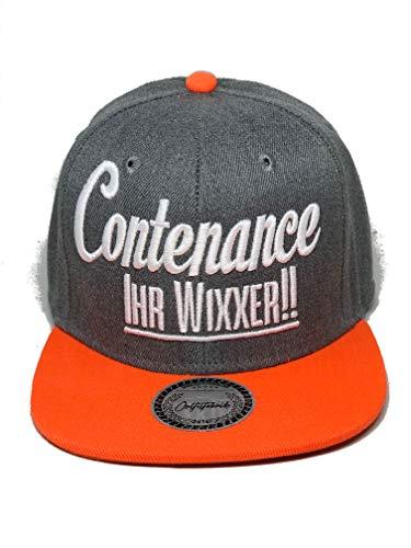 Outfitfabrik Snapback Cap Stickerei Contenance Ihr Wixxer!! in grau-orange (Junggesellenabschied, 18. Geburtstag, JGA)