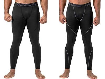 DEVOPS 2 Pack Men's Thermal Compression Pants, Underwear Long Johns Base Layer Tights (Medium, Black/Black)