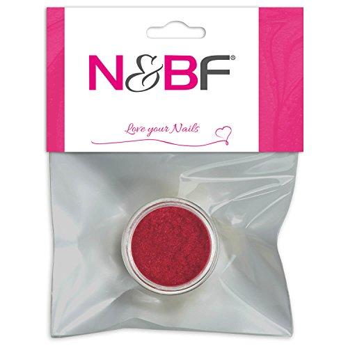 N&BF Velvet Puder Hot Fire (Rot) | Samtpuder für Gelnägel & Nagellack | Nailart Plüsch Pulver | Flocking Powder für Nageldesign | Puschel Puder Dust im Samt Look