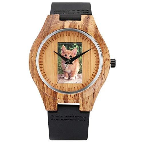 RWJFH Reloj de Madera Cute Pet Cat Photo Dial Reloj de Madera Reloj analógico para Hombres Reloj de Pulsera de Cuarzo con Animales Relojes Deportivos, Negro