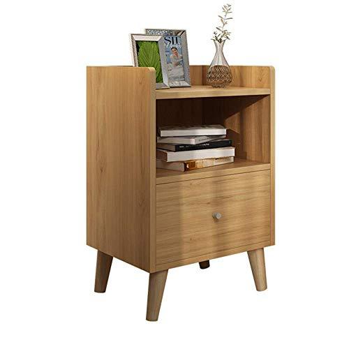 Kutera nachtkastje, stapelbaar, bijzettafelbaar, voor het opbergen, bijzettafeltje voor kleine ruimtes, houtlook, accent, meubels, nachtkastje, lampje 37cmX34cmX58cm beige