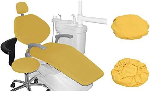 4 Piezas/Juego Silla Dental Cuero de la PU Cubierta de Asiento Funda de sillón Dental Elástico Impermeable Protector Dentista Contiene Reposacabezas Respaldo Amortiguar Cubierta de la Silla,Amarillo
