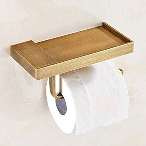 PYROJEWEL Papel higiénico Titular, Cobre sostenedor de Papel higiénico con el Almacenamiento en Rack, Titular de Papel higiénico, montado en la Pared del sostenedor del Tejido servilletero
