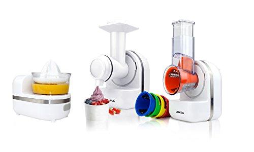 Jocca 5599 Robot de Cocina 3 En 1, Rallador, Exprimidor y Emulsión Para Hacer Sorbetes 5 Tipos de Cuchilla, 150 W