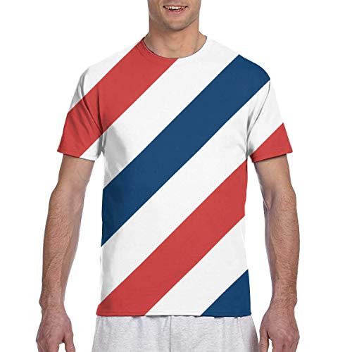 Zhgrong Camisetas de Hombre Patrón de Concepto de Peluquero Camisetas de Manga Corta Cuello Redondo Camisetas Deportivas Tops