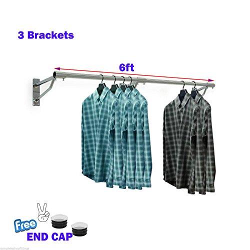 Montado en la pared perchero ropa para colgar accesorio de pantalla Tubo tiendas casa 25mm, Crs1000101, 6ft x 25mm TUBE & 3 BRACKETS