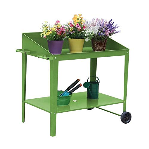 Table de rempotage en métal - 90 x 55 x 90 cm - Vert