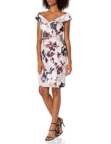 Alex Evenings Women's Short Crepe Off The Shoulder Cocktail Dress, Blush/Multi, 10