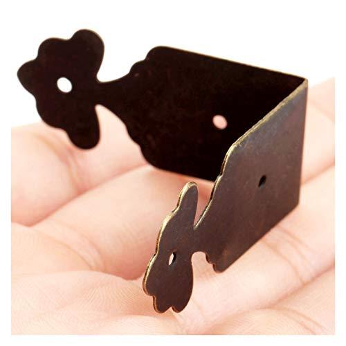 LJZX Eckhalterung 4Pcs Antique Mental Corner Schutz Jewelry Box Geschenk Wein Chest Box Holz-Kasten Dekorative Füße Bein Eckenschutz 39 * 39 * 18mm Fortgeschrittene Werkstoffe