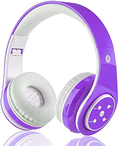 Kabellose Bluetooth Kopfhörer für Kinder Jugendliche ab 5 Kabelloser Kopfhörer Over Ear mit Lautstärkebegrenzung inkl. Radio on Ear drahtloser Faltbarer Kopfhörer mit Mikrofon HiFi Stereo (Violett)
