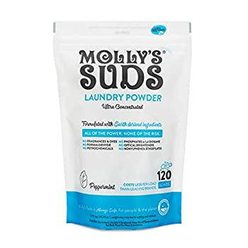 Molly s Suds Laundry Detergent Powder| Natural Laundry Detergent for Sensitive Skin | Stain Fighting  Peppermint - 120 Loads