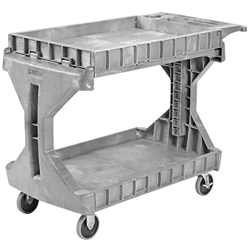 Akro-Mils 30936 ProCart 2 Shelf Flip Top Plastic Service Utility Cart with Handle and Wheels,...