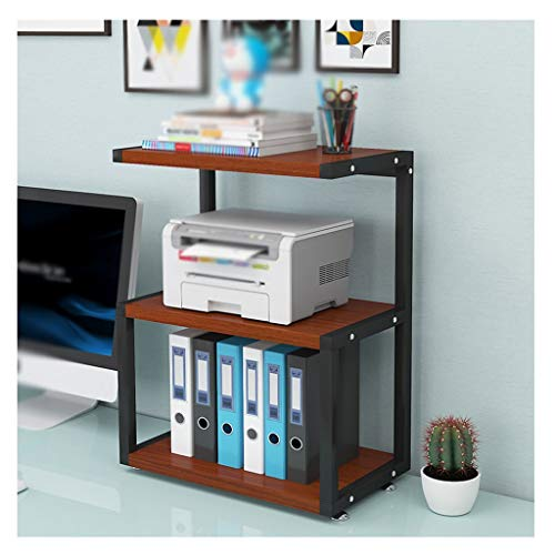 3-Layer Desktop Printing Stand with Metal Fixed Printer Desk Frame Used in Office Living Room Fax Machine Bracket Scanner Shelf (Color : Brown)