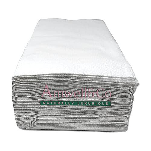 Toallas de salón desechables, lisas blancas, fibra de viscosa natural 100% biodegradable, belleza, peluquería, peluquería, spa, 80 x 40 cm