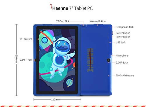 Haehne Tablet PC 7 Zoll Android Tablet mit HD Displays, Google Android 9.0 System, Zwei Kameras, Quad Core 1GB RAM 16GB ROM, GMS Zertifiziertes, Blau