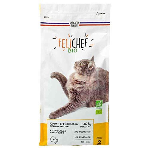 Félichef - Croquettes pour Chat Stérilisé Toutes Races - Aliment Complet Bio riche en volaille, au riz et aux légumes verts - 2 kg